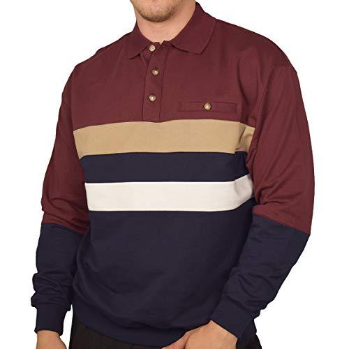 Classics by Palmland Horizontal Stripes Long Sleeve Banded Bottom Shirt 6198-210 (L, Burgundy)