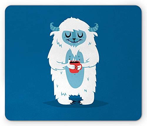 Bigfoot Mouse Pad Yeti Monster houdt een kopje koffie in de koude winter grafische afbeelding
