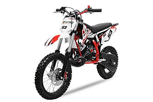 "NITRO Motors 50cc NRG 50 14""/12"" Crossbike Pitbike Pocketbike Bike Kindercross Motorrad (Rot)"
