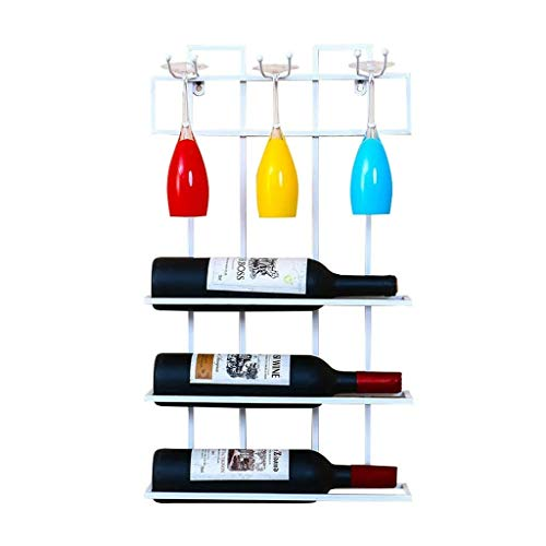 Loft Wall-mounted Shelf Metal Iron Wall Hanging Storage Wine Racks Wine Bottle And Glasses Holder Frame Wine Stemware Holder Goblets Rack - 35 9 60cm (Color : White)