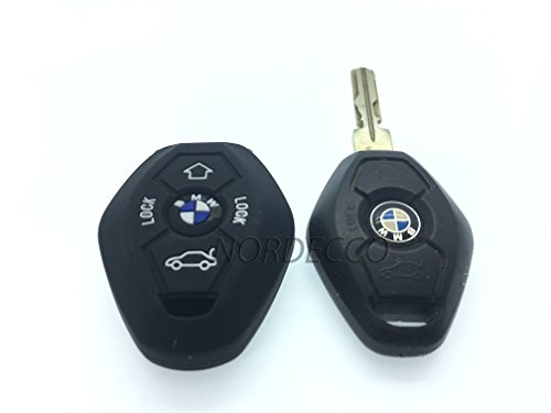 Coque de protection en silicone pour clé à 3/4 boutons de BMW E39 38 36 E35 3 E46 E90 E91 E60 65 66 67 E61 E53 BMW Série 3 5 6 7 modèle M Sport 3 m3 M5 X5 X6 7 Z3 Z4 (Noir)