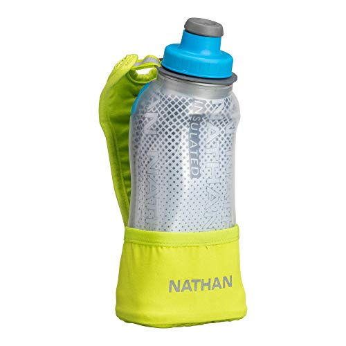 Nathan Running Handheld Quick Squeeze. No-Grip Adjustable Hand Strap. 12oz / 18oz / Insulated. Reflective Hydration Water Bottle. (12oz Insulated, Lime)