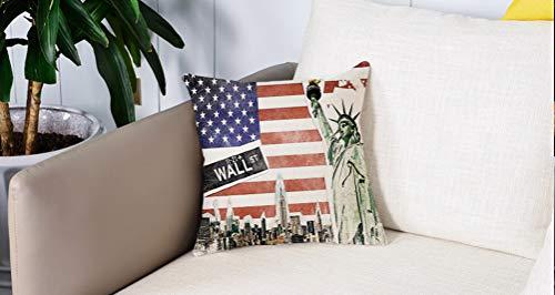 Pillowcase,Cuscini da Letto,Decorazioni bandiera americana, collage di New York con famosi monumenti di Wall Street e ManhatCuscini Per Copricuscini Divano Caso Federa Home Decorativi 45x45 Cm