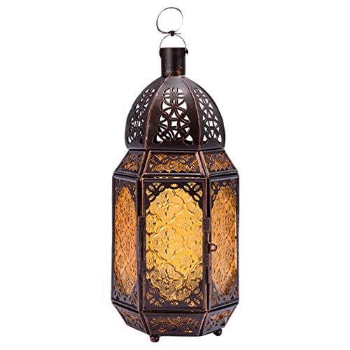 OSALADI Farol vela retro de hierro portavelas decorativo de cristal marroquí portátil lámpara colgante para la fiesta de boda en casa Navidad Halloween