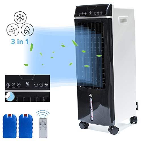 Mobiles Klimagerät, Klimagerät Luftkühler, Mobiles Luftkühler mit Luftbefeuchter und Luftreiniger (65 W, Luftdurchsatz: 550 m³/h, 3 Leistungsstufen, 120° Rotierbar, 7.5 h Timer, Fernbedienung) Schwarz