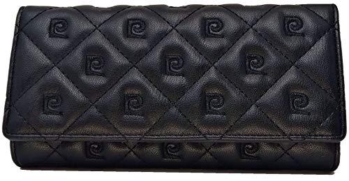 PIERRE CARDIN Cartera para mujer, bonita, grande, espaciosa, piel, rfid, regalo, cartera con monedero, billetera para niña, Negro ,