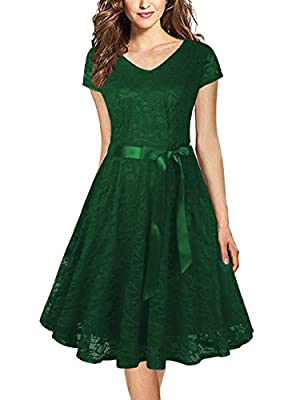Faddare Women Cap Sleeve Elegant Floral Lace Cocktail Formal Swing Party Dresses with Belt
