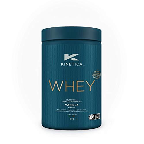 Kinetica Whey Protein in polvere, 33 dosi, vaniglia, 1 kg. Basso contenuto di carboidrati, siero proveniente da allevamento al pascolo.