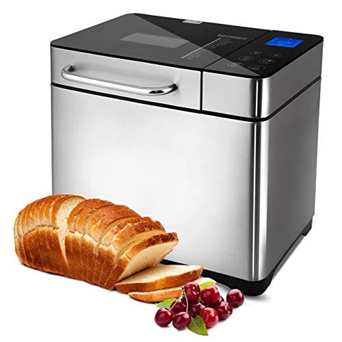 Brotbackautomat 710W Backmeister mit Automatische Zutatenbox, 19 Programme, Edelstahl Bread Maker Vollautomatische mit 15 Stunden Timing-Funktion, Sichtfenster,Die Kapazität beträgt 500g-1000g