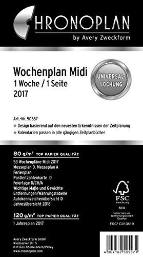 Chronoplan 50557 Kalendereinlage 2017 (Wochenplan Midi in Zeilen, 1 Woche/1 Seite) weiß