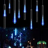 Raindrop LED Meteor Shower Rain Lights,50cm 19.7inch 8 Tubes 288leds,Icicle Snow Falling Lighting for Xmas Halloween Party Holiday Garden Christmas Tree Thanksgiving Decoration Outdoor/Indoor(Blue)