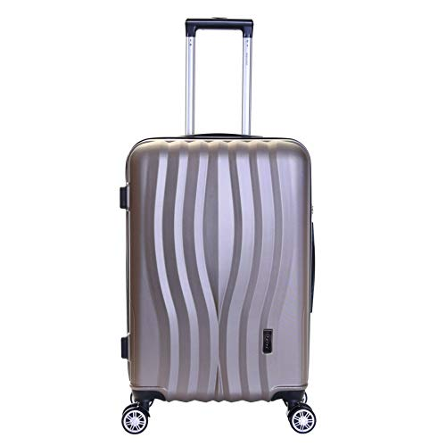 Karabar Hard Medium Large Suitcase Luggage Bag ABS Shell 66 cm 3.4 kg 65 litres with 4 Spinner Wheels and Integrated TSA Number Lock, Dune Champagne