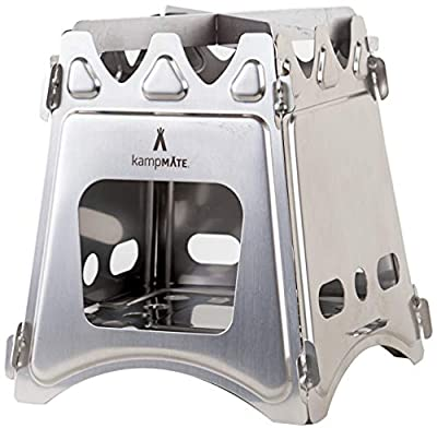 kampMATE WoodFlame Ultra Lightweight Portable Wood Burning Camping Stove, Backpacking Stove with Nylon Carry Case - Perfect for Survival Packs & Emergency Preparedness
