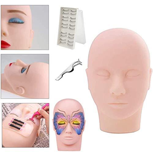 MYSWEETY Schminke Trainingsköpfe Mannequin Kopf Praxis Make Up Dummy Modell Köpfe, Schminkkopf Massage Trainingspraxis Kopf mit Wimpernzange und 10 Paar Wimpern