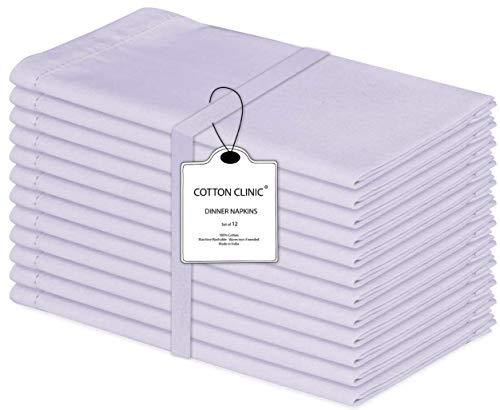 Baumwolle-Klinik 12er-Set Stoffservietten, Hohlsaum Servietten Hochzeit, 100% Baumwolle Servietten Weich Gemütlich Maschinenwaschbar - 50x50 cm Weiß
