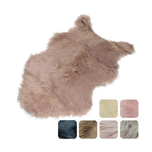 Furryvalley Alfombra de piel sintética ecológica de cordero de imitación de piel de oveja para cama, sofá, salón, dormitorio, habitación de los niños (rosa, 60 x 80 cm)