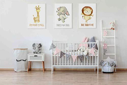 Laminas decorativas para enmarcar cuadros de pared. Estilo infantil. Grandes 30 x 40cm y 20 x 30cm. Posters decoración del hogar, cuarto de bebé (Animales)