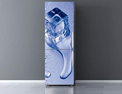 Vinilo para Frigorífico cubito de Hielo |Varias Medidas 185x60cm | Adhesivo Resistente y de Facil Aplicación | Pegatina Adhesiva Decorativa de Diseño Elegante|