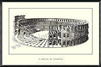 ポスター ヴェローナ larena di Verona 額装品 アルミ製ハイグレードフレーム(ブラック)