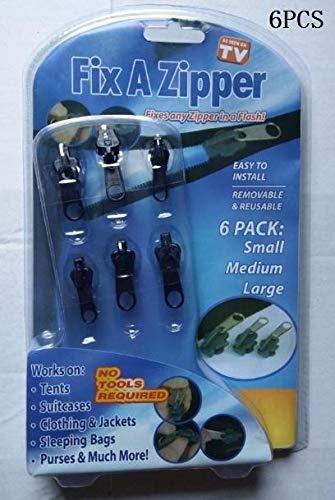 JINAN 12/6 pz 3 misure universale Instant Fix cerniera riparazione kit di ricambio zip cursore denti salvataggio cerniere vestiti da cucito (colore : tutto nero scatola imballato)