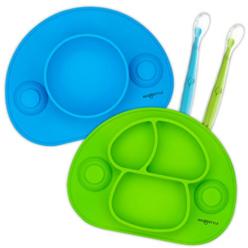 RIGSTYLE Silicone Feeding Set: Divided Plate and Bowl Placemats with Suction Cups Plus 2 Spoons, for Babies, Toddlers and Kids (Blue/Green)