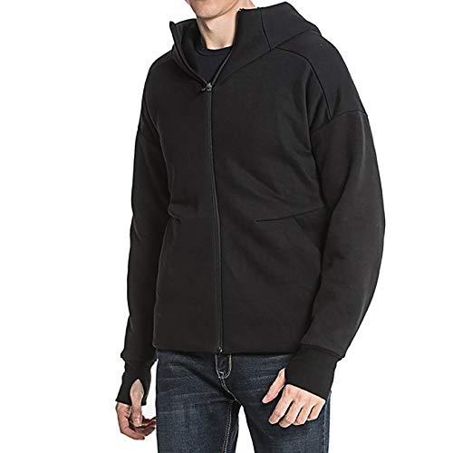 DZX Elektrische warme kleding voor heren, verwarmingsjas, met USB-kabel, voor op reis, in de open lucht, camping, fiets, skiën zwart-XL