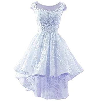 Dydsz Women s Hi-Lo Prom Dress Short Homecoming Dresses for Teens Lace Party Gown Lightblue 12