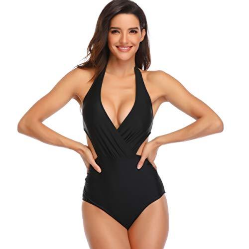 CheChury Mujer Brasileños Bikinis Cuello en V Traje de Baño de Una Pieza Vendimia Halter Monokini Sexy Bañadores Reductores Tankini