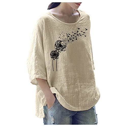 URIBAKY - Camicia da donna, in misto cotone, con scollo rotondo, a maniche lunghe, con stampa, stile Streetwear, B-beige, L