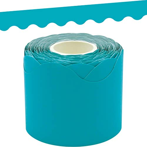 Teal Scalloped Rolled Border Trim