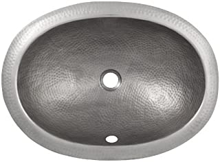 The Copper Factory CF152SN Solid Hand Hammered Copper Oval Undermount Lavatory Sink, Satin Nickel