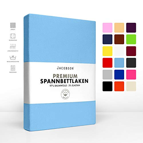 Jacobson Jersey Spannbettlaken Spannbetttuch Baumwolle Bettlaken (Premium 200x220 cm, Hellblau)