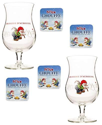 La Chouffe Birra Set 6 Pz. Bicchieri sottobicchieri di Natale
