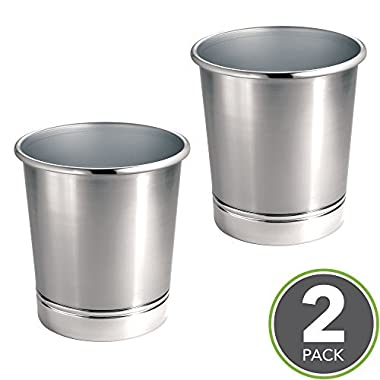 mDesign Round Metal Small Trash Can Wastebasket, Garbage Container Bin for Bathrooms, Kitchens, Home Offices - Pack of 2, Solid Steel Construction, Brushed Nickel Finish and Polished Chrome Base