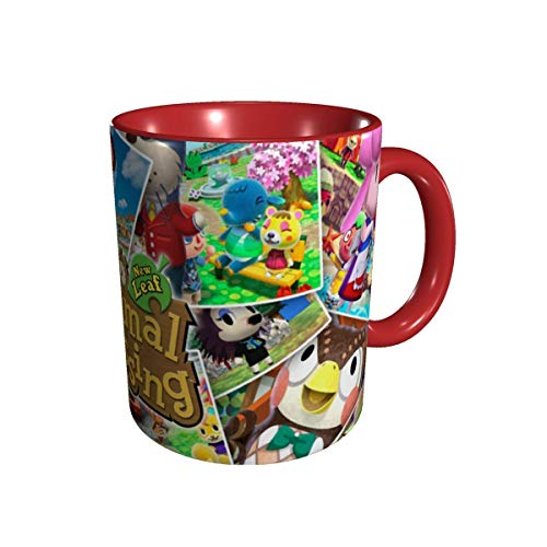 YHJUI Animal Tassen Crossing Cup Horizonte Neuheit Lustige Keramik Kaffeetasse, Teetasse für Büro und Zuhause 330ml Rot