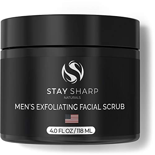 Exfoliating Face Scrub for Men - 4 oz Luxury Daily Mens Facial Scrub - Natural Organic Skin Care with Deep Powerful Exfoliator - Formulated with Organic Aloe, Witch Hazel and Kaolin Clay