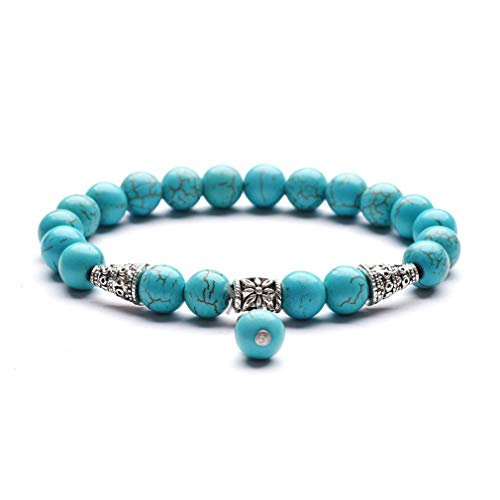YAZILIND Cleanse and Clear Negative Energies Healing Power Bead Bracelet - Turquoise, Natural Gemstone Unisex Bracelet #1