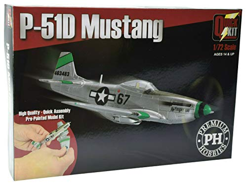 Premium Hobbies P-51D Mustang Pre-Painted 1:72 Airplane Snap Together Model Kit SQM7009