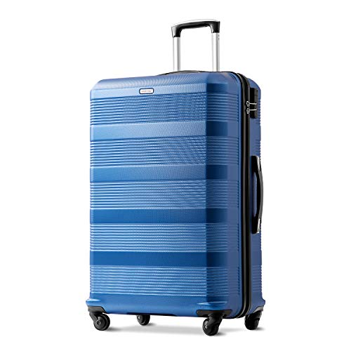 Merax 24 Inch Blue Suitcase, Super Lightweight ABS Hard Shell Sapphire Travel Suitcase with 360° Wheels Suitcase Luggage Free 3 Year Warranty