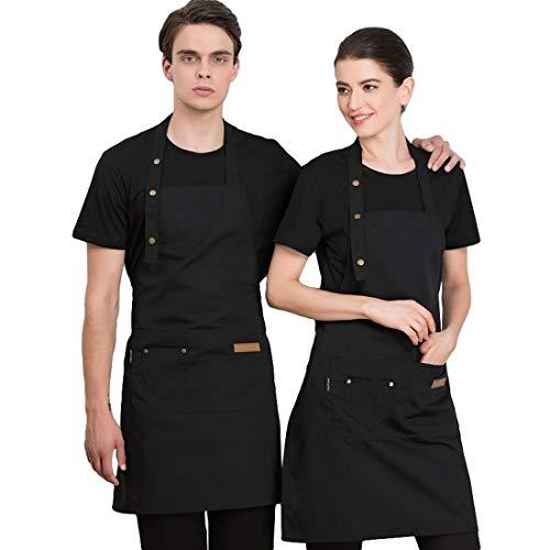 Freahap R Küchenschürze, verstellbar, Kochschürze, mit Taschen für Frauen und Männer, Arbeitskleidung für Kellner/Chef Server, Schwarz , one size