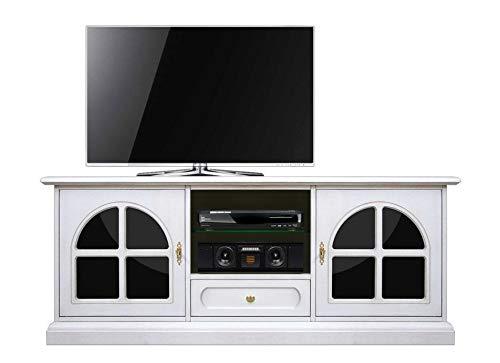 Arteferretto Meuble TV laqué avec plexiglass Noir