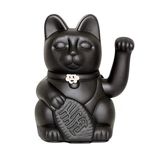 Gato de la Suerte chino. Lucky Cat. Maneki Neko. COLOR NEGRO 10x6x15cm.