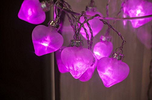 PERFECT PLANTS Fuschia Pink Frosted Glass Heart Garland Lights Battery Operated