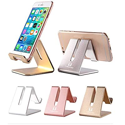 Desktop Cell Phone Stand Holder, ToBeoneer Aluminum Solid Portable Universal Desk Stand for All Mobile Smart Phone Tablet Display Huawei iPhone X 8 7 6 Plus 5 Ipad 2 3 4 Ipad Mini Samsung (Silver) from ToBeoneer