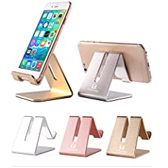 📱UPDATED SOLID / EXQUISITE WORKMANSHIP: 4mm thickness aluminum, which is thicker than normal phone stand (2/3mm), smooth edge, simple, lightweight, perfectly works with your smart phones 📱WIDE COMPATIBILITY: The cell phone desk stand, compatible with...