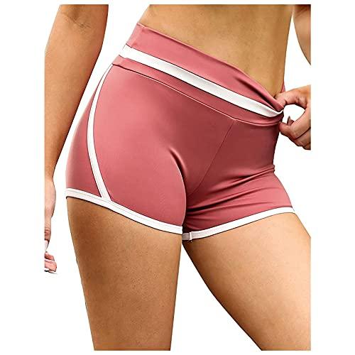 Pantalones Cortos Mujer de Fitness Color Liso Pantalón Corto Deporte Mujer Cintura Alta Shorts Deportivos Transpirable para Mujer Pantalones Mujer...