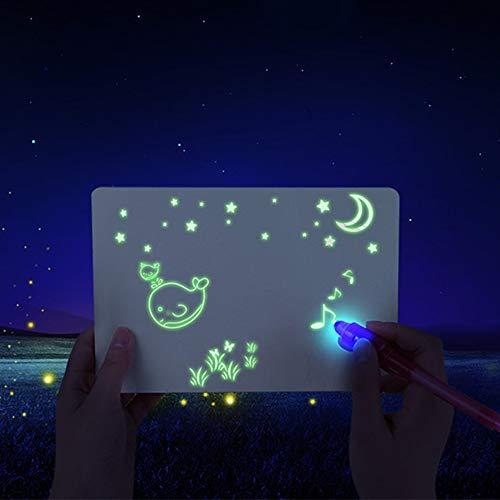 Malerei 3D Doodle Drawing Mat mit Magic Pen Fluoreszierend Leuchtend Tafel Gekritzel Kunst für Kinder Geschenk Lernspielzeug (A4)