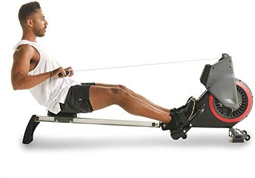 Fitness Reality Dual Transmission Fan Rower Rowing Machine with MyCloudFitness App and On Demand Coaching, Black