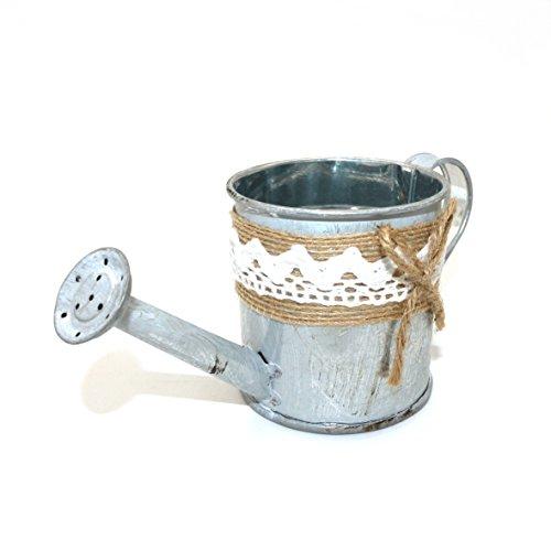 CVHOMEDECO. Mini arrosoir rustique en étain - Pot de fleurs en métal - Pot de fleurs pour plantes grasses - Seau de jardin pour balcon, terrasse - Arrosoir avec corde de chanvre - Décoration