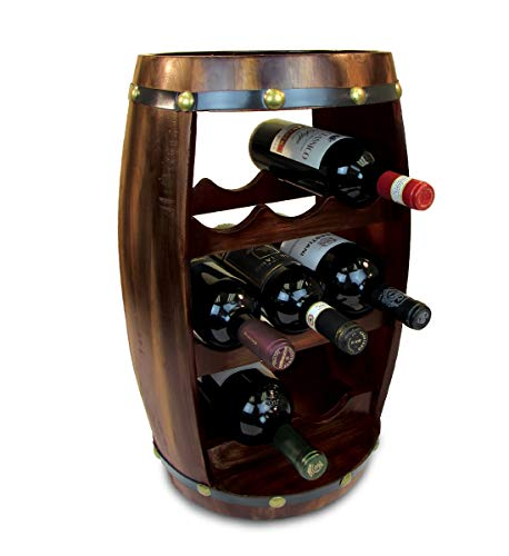 Puzzled Alexander Wine Rack 8 Bottle Free Standing Wine Holder Bottle Rack Floor Stand Or Countertop Wine Wooden Barrel Decor Storage Organizer Liquor Display to Decorate Home Kitchen Bar Accessory